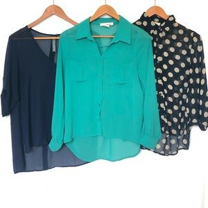 Lot of 3 Sheer Hi-Low Button Blouses  size Small